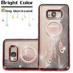 Galaxy S8, Rose Gold/Dreamcatcher/Silver Quicksand Glitter Hybrid Phone Case - JandJCases
