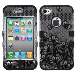 Black Lace Flowers (2D Silver) TUFF Hybrid Phone Protector Cover for iPhone 4 - JandJCases