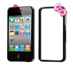 iPhone 4/4S Black/Hot Pink MyBumper Bow Phone Case - JandJCases