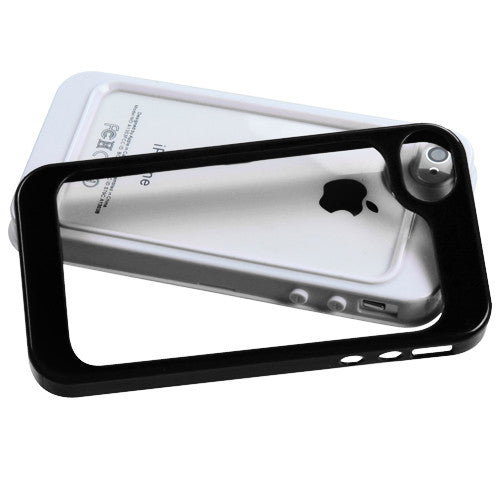 iPhone 4 4S White/Solid Black MyBumper Phone Protector Cover  (YSF Goods) - JandJCases