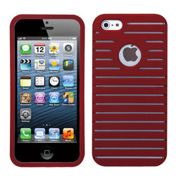 iPhone 5 5S Rubberized Red Railing Phone Protector Cover - JandJCases