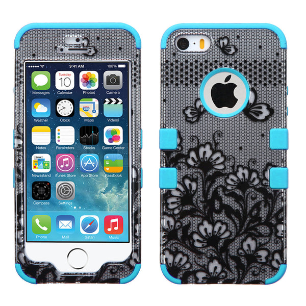 iPhone 5/5S/SE,  Black Lace Flowers Tropical Teal Tuff Hybrid Phone Case - JandJCases