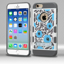 TUFF Trooper iPhone 6 4.7 MyBat Flower Bush in Blue/Iron Gray Hybrid Phone Protector Cover with Stand - JandJCases