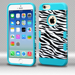 TUFF Trooper iPhone 6/6S 4.7 MyBat Zebra Skin/Tropical Teal Hybrid Protector Cover - JandJCases
