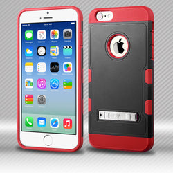 TUFF Trooper Natural Black/Red Hybrid Protector Cover with Stand for iPhone 6, iPhone 6 Plus and Samsung Galaxy S6 - JandJCases