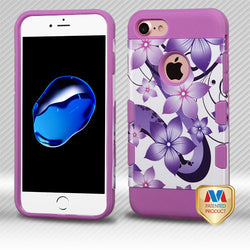 iPhone 7 TUFF Trooper Hibiscus Flower Romance/Electric Purple Hybrid Protector Cover - JandJCases