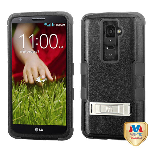 Natural Black/Black TUFF Hybrid Phone  Protector Case with Stand for LG G2 - JandJCases