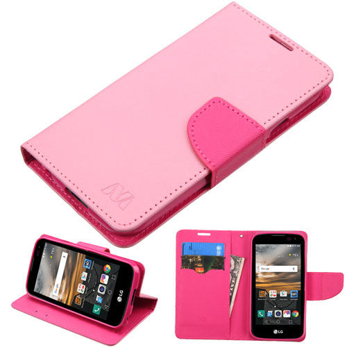 LG K3 Pink Pattern/Hot Pink Liner MyJacket Wallet (with card slot)(846) -WP - JandJCases