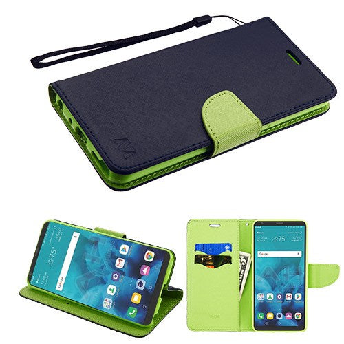 LG Stylo 4, Dark Blue/Green Liner MyJacket Wallet Phone Case(with card slot)