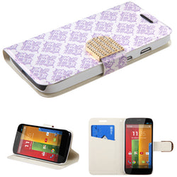 Flowers Fabric Wallet Case with Diamante Belt for Motorola Moto G - JandJCases