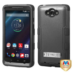 Natural Black/Black TUFF Hybrid Phone Protector Case with Stand for Motorola Droid Turbo (XT 1254) - JandJCases