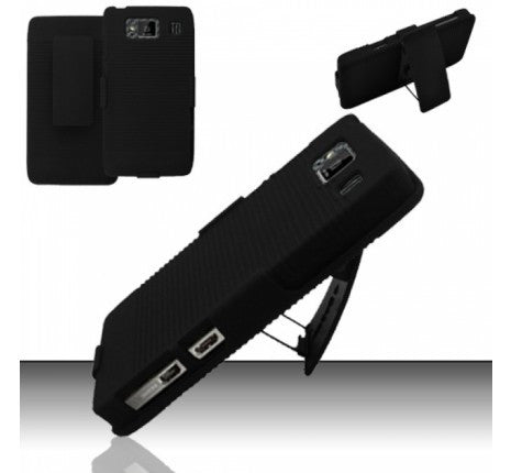 Motorola Droid RAZR Maxx HD (Verizon) Rubberized Holster Combo - Black - JandJCases