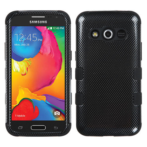 Carbon Fiber/Black TUFF Hybrid Phone Protector Cover for Samsung Galaxy Avant (386T) - JandJCases