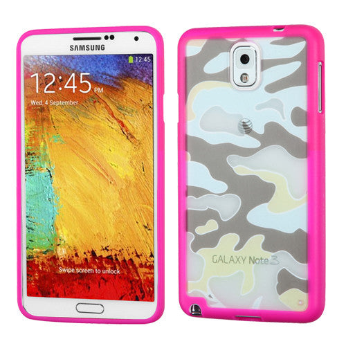 Galaxy Note 3 MYBAT Glassy Camo/Hot Pink Gummy Phone Case - JandJCases