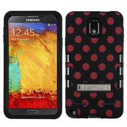 Galaxy Note 3, Polka Dot TUFF Hybrid Case with Metal Stand - JandJCases