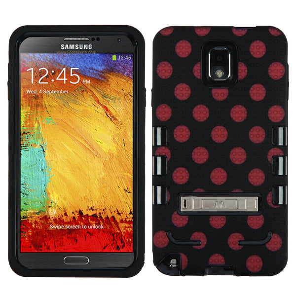 Natural Black/Red Polka Dot TUFF eNUFF Hybrid Phone Protector Cover with Metal Stand for Samsung Galaxy Note III - JandJCases
