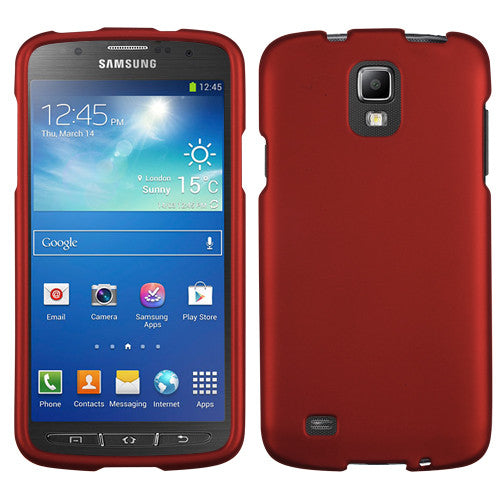 Titanium Solid Red Phone Protector Cover for Samsung Galaxy S4 Active (I537) - JandJCases