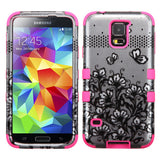 Black Lace Flowers (2D Silver)/Electric Pink Hybrid Phone Protector Cover for Samsung Galaxy S5 - JandJCases