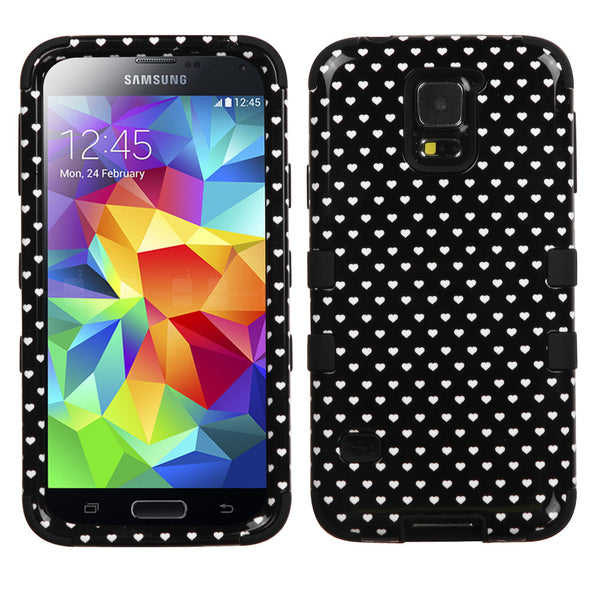 Galaxy S5 Black Vintage Heart Dots/Black TUFF Hybrid Phone Case - JandJCases