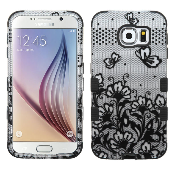 MyBat Black Lace Flowers (2D Silver)/Black TUFF Hybrid Phone Protector Cover for Samsung Galaxy S6 (G920) and S4 - JandJCases