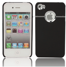 Silver Circle Style Hard Plastic Case for iPhone 4 in Black - JandJCases