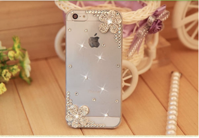 Flowers 3D Bling Pearl Transparent Back Cover Case for iPhone 4/4S, 5/5S/5C - JandJCases