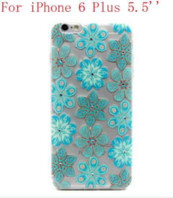 Diamond Turquoise Flower Pattern Silicone Case for iPhone 6 Plus/6S Plus - JandJCases