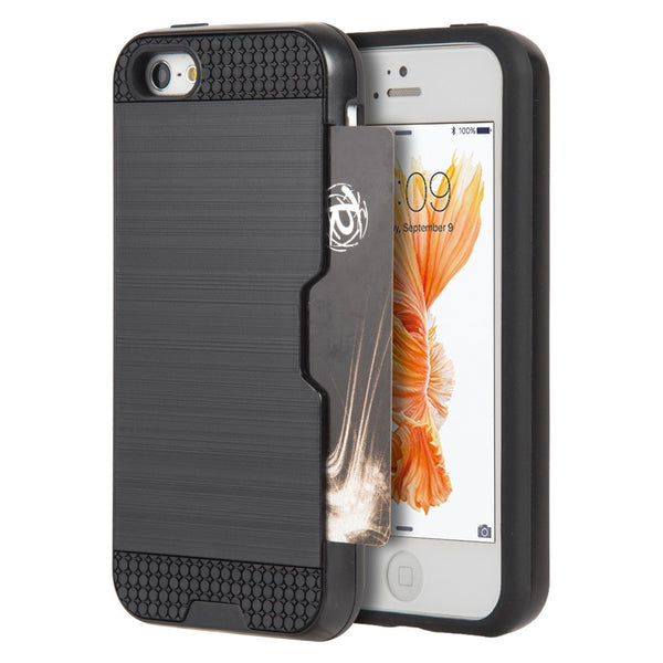 iPhone 5/5S/SE Luxmo Card-To-Go Hybrid Phone Case - Black - JandJCases