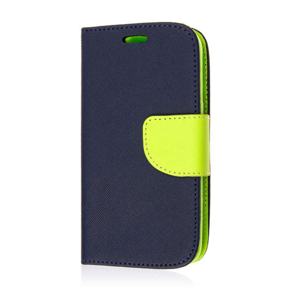 Samsung Galaxy Avant Wallet Case Flip Cover with ID Pockets (Blue/Lime Green) - JandJCases