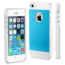 iPhone 5, 5S, SE Brushed Back Silver Aluminum Cover in Blue - JandJCases