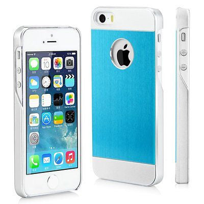 iPhone 5/5S/SE, Brushed Back Silver Aluminum Phone Case in Blue - JandJCases