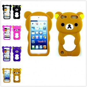 iPod Touch 5 Silicone 3D Bear Case in Black - JandJCases