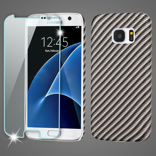 Galaxy S7 MYBAT Carbon Fiber Mod Leather Protector Cover with (Tempered Glass Screen Protector) - JandJCases