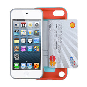 iPod Touch 5 Rubberized Orange/Hard Baby Blue Hybrid case with Card Compartment - JandJCases