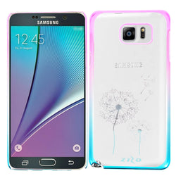 Galaxy Note 5 Electroplated Crystal Clear Design Pink/Blue Dandelion - JandJCases