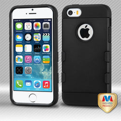 iPhone 5/SE MYBAT Rubberized Black/Black TUFF Trooper Hybrid Protector Cover - JandJCases