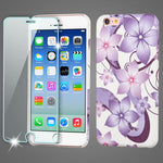 iPhone 5/5S/SE Purple Hibiscus Flower Mod Leather Phone Case + Tempered Glass - JandJCases