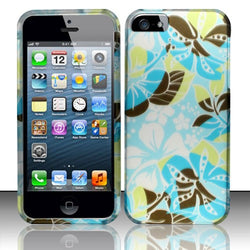 iPhone 5/5S - Rubberized Design Cover - Coral Blue Flowers