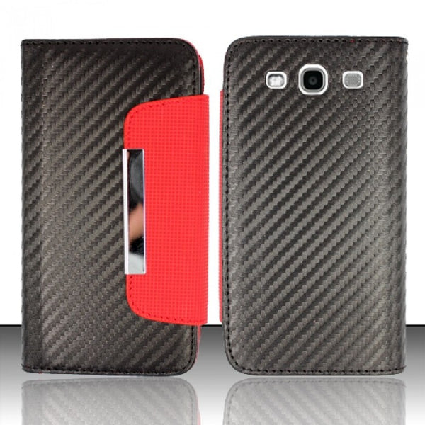 Samsung Galaxy SIII i9300 - Black/Red ID1 Horizontal Flap Pouch - JandJCases