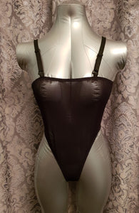 Elegant Moments leather and fishnet teddy from Ginger Candy lingerie