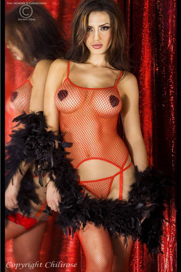Chilirose fishnet set from Ginger Candy lingerie