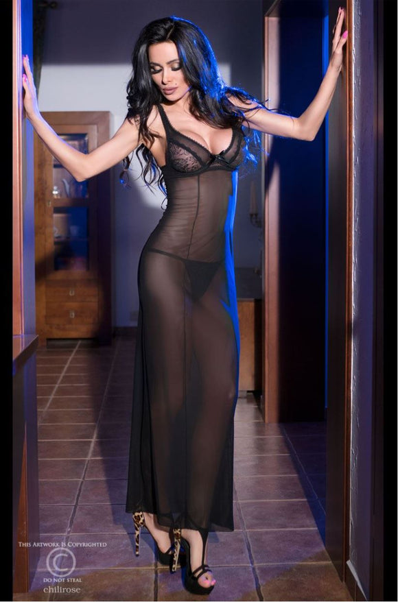 Chilirose sheer long gown from Ginger Candy lingerie