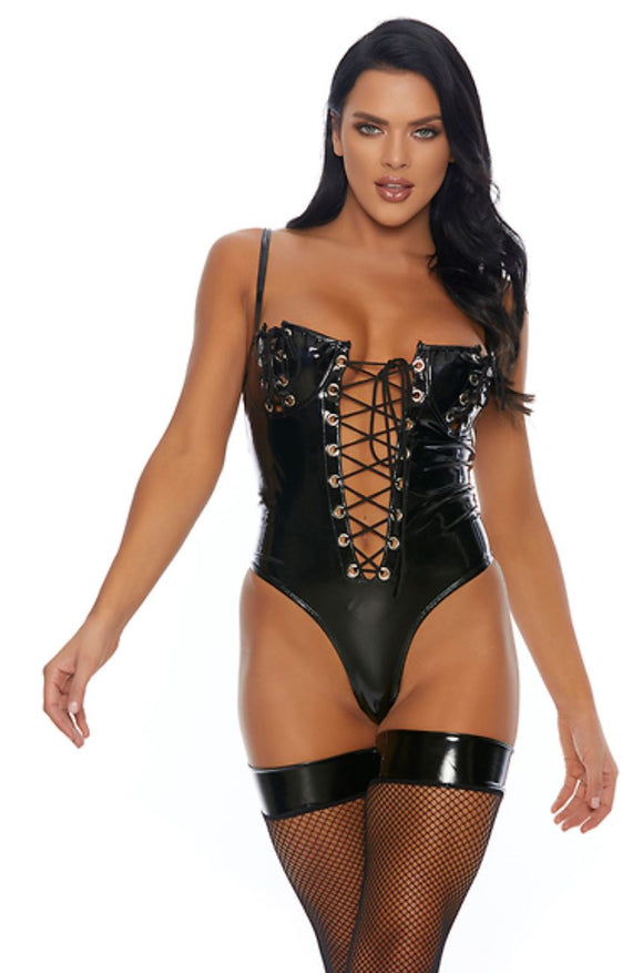 ForPlay vinyl bustier from Ginger Candy lingerie