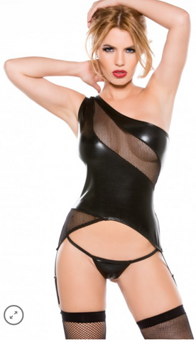 Allure Lingerie wet look one-shoulder bustier from Ginger Candy