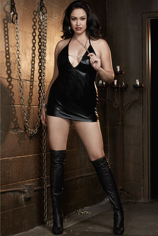 Dreamgirl wet-Look chemise with chain | Ginger Candy