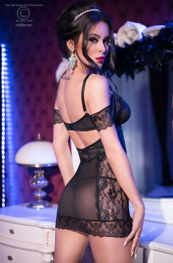 Chilirose sheer chemise from Ginger Candy lingerie