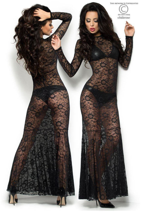 Chilirose long lace dress from Ginger Candy lingerie