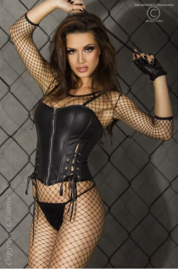 Chilirose leather-look corset from Ginger Candy lingerie