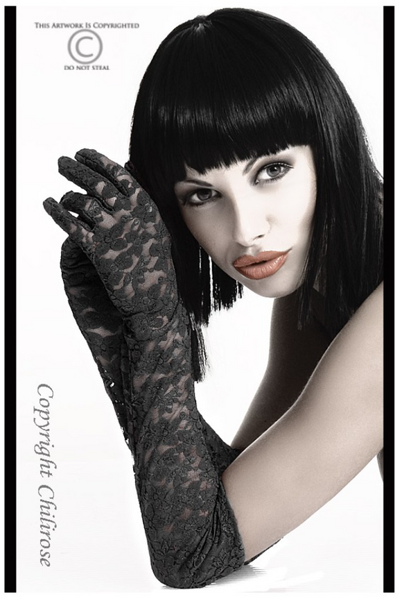 Chilirose long lace gloves from Ginger Candy lingerie