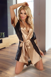 Beauty Night satin dressing gown from Ginger Candy lingerie